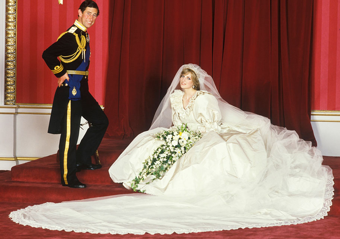 Lady Diana Spencer Yes, her puff-sleeved, ruffled, silk taffeta gown--decorated with lace, embroidery, sequins, and around 10,000 tiny pearls--wasn't exactly understated. But then neither was anything else about Diana's royal wedding to Prince Charles in 1981.